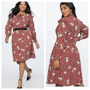 Tie Neck Midi Dress - Rose print